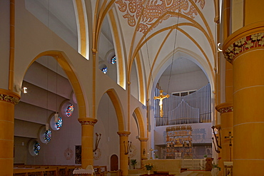 Interior view of the Liebfrauenkirche, Church of Our Lady, Puettlingen, Saarland, Germany, Europe
