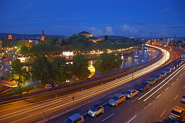 View of streets and the river Saar in the evening, Saarbruecken, Saarland, Germany, Europe