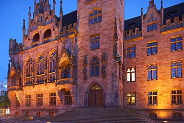 St. Johanner town hall in the evening, Nauwieser Viertel, Saarbruecken, Saarland, Germany, Europe