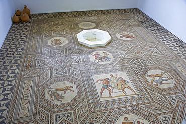 Roman mosaique floor at Perl-Nennig, Saarland, Germany, Europe