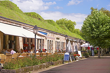 Cafes in the casemates of the Vauban citadel, Saarlouis, Saarland, Germany, Europe