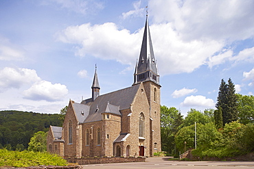 Hochwalddom, Hubertus' church in the sunlight, Nonnweiler, Nature reserve park Saar-Hunsrueck, Saarland, Germany, Europe