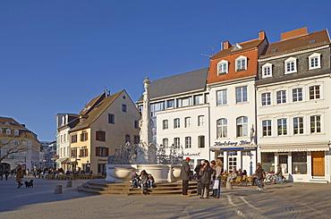 St. Johann marketplace with fountain in the sunlight, Saarbruecken, Saarland, Germany, Europe