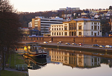 River Saar with parliament and ship in the morning, Alt Saarbruecken, Saarland, Germany, Europe