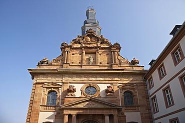 Facade of the castle church in the sunlight, Blieskastel, Bliesgau, Saarland, Germany, Europe