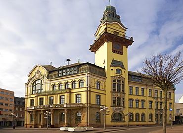 Old town hall under clouded sky, Altes Rathaus, Voelklingen, Saarland, Germany, Europe