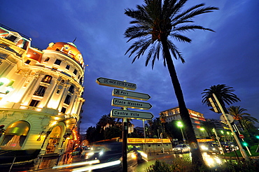 The illuminated Negresco hotel in the evening, Nice, Cote d'Azur, South France, South France, Europe