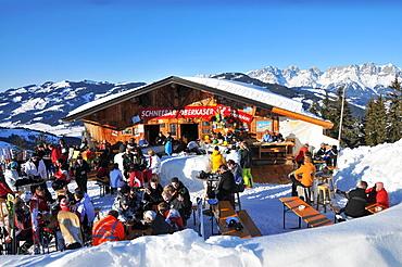 Hut in the skiarea Ehrenbachhoehe over Kitzbuehel, Winter in Tyrol, Austria, Europe