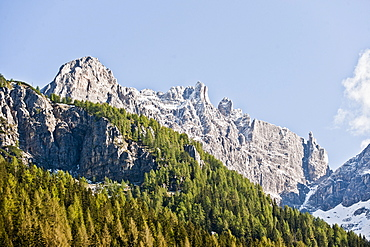Mountain landscape in Bruneck, Puster Valley, South Tyrol, Italy