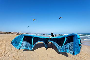 Kite surfer at beach, Playa Barca, Playa de Sotavento, Fuerteventura, Canary Islands, Spain