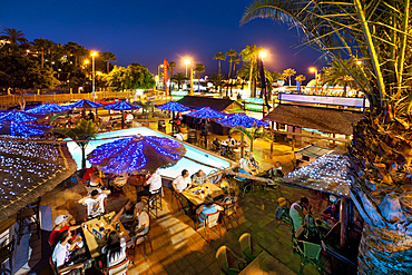 Bar at the beach promenade, Playa del Ingles, Gran Canaria, Canary Islands, Spain