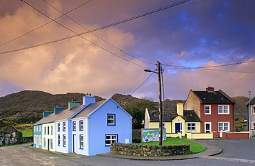 Colourful houses under clouded sky, Allihies, Beara peninsula, County Cork, Ireland, Europe