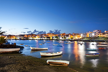 Illuminated houses at Charco de San Gines in the evening, Arrecife, Lanzarote, Canary Islands, Spain, Europe