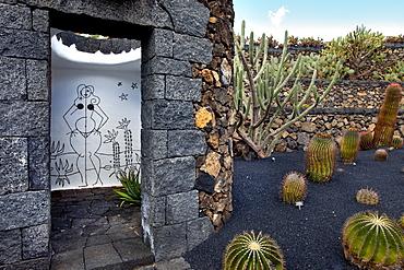 Ladies' toilet at the botanical garden, Jardin de Cactus, architect Casar Manrique, Guatiza, Lanzarote, Canary Islands, Spain, Europe