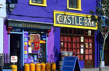 Colourful facade of a shop and a bar, Macroom, County Cork, Ireland, Europe