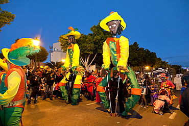 Carnival procession in the evening, Arrecife, Lanzarote, Canary Islands, Spain, Europe