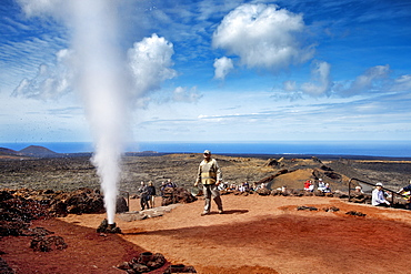 Water explosion, Timanfaya National Park, Lanzarote, Canary Islands, Spain, Europe