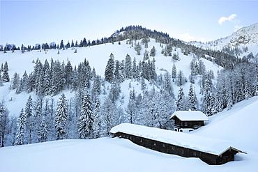 Snow covered alpine hut Koenigsalm with winter forest, Tegernseer range, Bavarian Prealps, Upper Bavaria, Bavaria, Germany