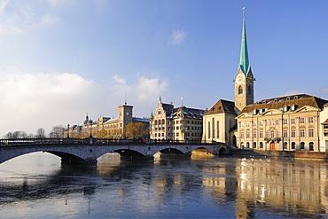 Church Frauenmuenster with river Limmat in foreground, Zurich, Switzerland