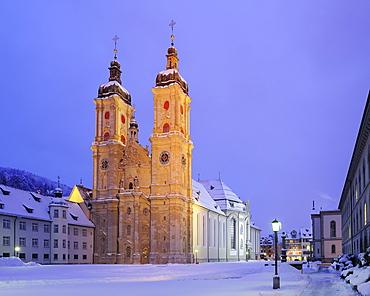 Illuminated collegiate church in St. Gallen, St. Gallen, UNESCO World Heritage Site St. Gallen, Switzerland