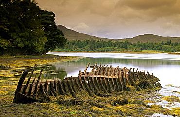 Wreck at a lake at the Ring of Beara, County Kerry, Ireland, Europe