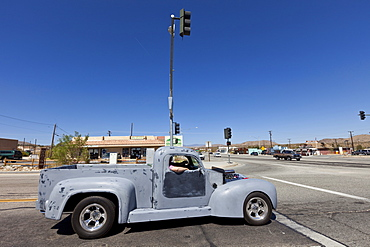 Pickup truck at an intersection, Joshua Tree National Park, Riverside County, California, USA, America