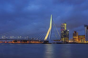 Erasmus bridge at dusk, Rotterdam, South Holland, The Netherlands