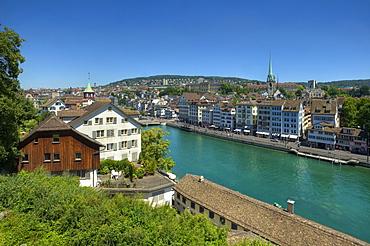 View on Limmat and Niederdorf, Zurich, Switzerland