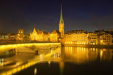Munster bridge with Frauenmunster at dusk, Zurich, Switzerland