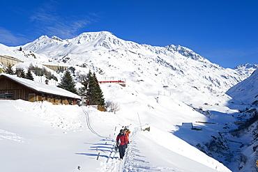 View on Oberalp pass in winter, Andermatt, Urseren, Canton Uri, Switzerland