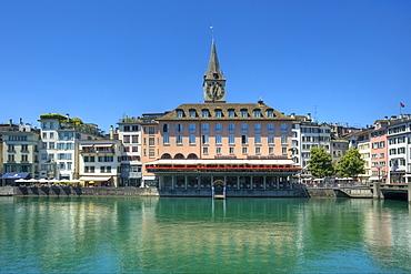 Limmat river with St. Peter and Hotel zum Storchen, Zurich, Switzerland, Europe