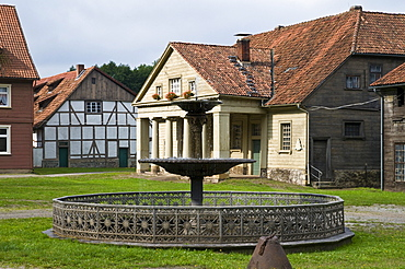 Cast iron well, historical ironworks Koenigshuette, from 1733 till 1737, Bad Lauterberg, Harz, Lower Saxony, Germany