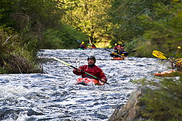 Kayaking on the Oker river, Oker Valley, Harz, Lower Saxony, Germany