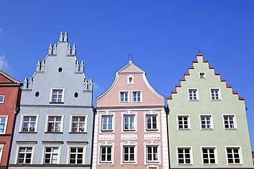 Historic facades along Neustadt Lane, Landshut, Lower Bavaria, Bavaria, Germany, Europe