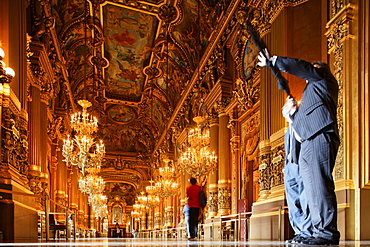 People at the Grand Foyer of the Opera Garnier, Paris, France, Europe