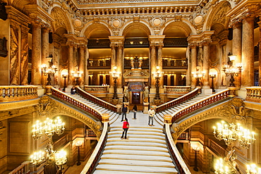 Staircase inside of the Opera Garnier, Paris, France, Europe