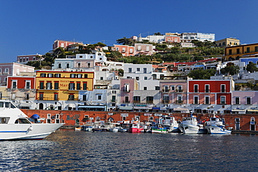 Port and houses of the town of Ponza, Island of Ponza, Pontine Islands, Lazio, Italy, Europe