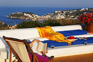 Terrace of the holiday rental Gabbiano, Island of Ponza, Pontine Islands, Lazio, Italy, Europe