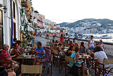 People sitting at the bar Tripoli, Town of Ponza, Island of Ponza, Pontine Islands, Lazio, Italy, Europe