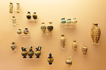 Display of old vases and amphores, archeological museum, Rhodes town, Rhodes, Dodecanese Islands, Greece, Europe