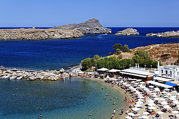 Pallas Beach in the sunlight, Lindos, Rhodes, Dodecanese Islands, Greece, Europe