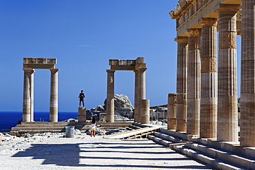 Reconstructed columns of the acropolis, Lindos, Rhodes, Dodecanese Islands, Greece, Europe