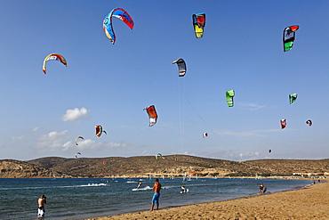 Kite surfing at Prasonisi beach, Prasonisi peninsula, Rhodes, Dodecanese Islands, Greece, Europe