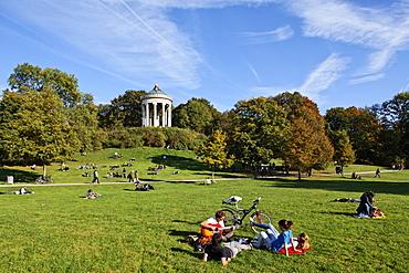 View over meadows onto Monopteros temple, Englischer Garten, English Garden, Schwabing, Munich, Upper Bavaria, Bavaria, Germany, Europe