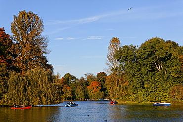 Lake Kleinhesseloher See in autumn, Englischer Garten, English garden, Schwabing, Munich, Upper Bavaria, Bavaria, Germany, Europe