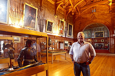 Francis Watson-Armstrong, owner of Bamburgh Castle at the exibition at the Kings Hall, Bamburgh, Northumberland, England, Great Britain, Europe