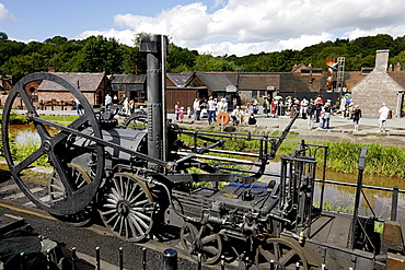 Steam engine from 1850 at The Iron Gorge Museums, Ironbridge Gorge, Telford, Shropshire, England, Great Britain, Europe