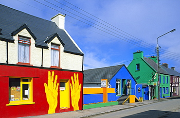 Colourful painted houses in Cahersiveen, County Kerry, Ireland, Europe