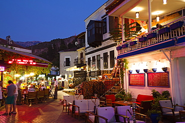 Restaurant in the bazaar in the Old Town of Fethiye, lykian coast, Mediterranean Sea, Turkey