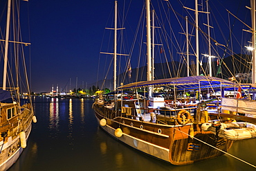 Fethiye marina at night, lycian coast, Mediterranean Sea, Turkey